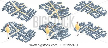 Man With Smartphone And Way On Isometric Map. Map Mobile App Planning Travel. City Map Route, Locati