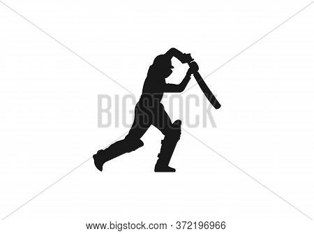Cricket Player Logo Vector For Web Design Isolated On White Background. Cricket Logo Design