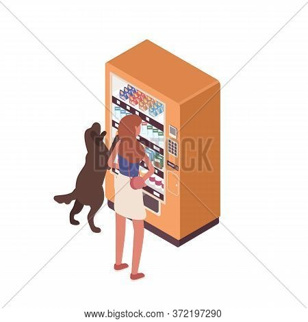 Woman And Dog Stand Near Vending Machine Vector Isometric Illustration. Female And Pet Choosing Snac