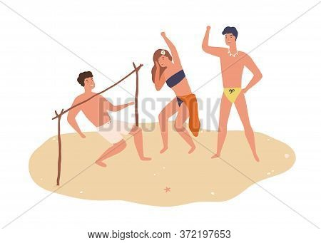 Group Of Happy Friends Dancing Limbo On Sand Vector Flat Illustration. Smiling Man And Woman In Swim