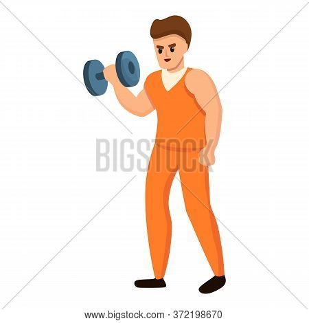 Prison Man Dumbbell Icon. Cartoon Of Prison Man Dumbbell Vector Icon For Web Design Isolated On Whit
