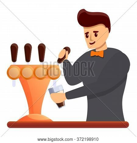 Bartender Beer Icon. Cartoon Of Bartender Beer Vector Icon For Web Design Isolated On White Backgrou