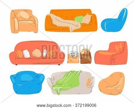 Vector Flat Set Of Cozy Couch, Divan, Sofa, Chairs, Padded Stool And Armchairs With Cat, Pillows And
