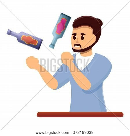 Bartender Juggler Icon. Cartoon Of Bartender Juggler Vector Icon For Web Design Isolated On White Ba