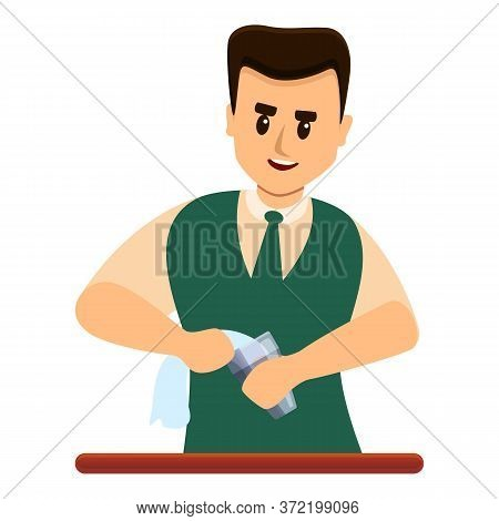 Bartender Clean Glass Icon. Cartoon Of Bartender Clean Glass Vector Icon For Web Design Isolated On