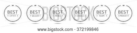 Laurel Wreath Label Badge Set Isolated. Best Offer, Best Seller, Best Team, Best Price Labels. Vecto