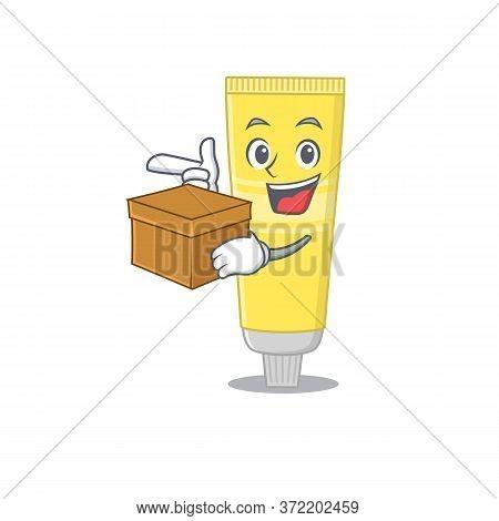 A Smiling Hair Dye Cartoon Mascot Style Having A Box