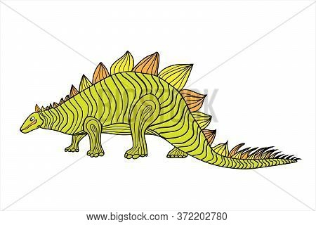Dinosaurs Are Prehistoric. Cute Dinosaur Of Green Color. Wall Decal, Sticker, Translator, Children S