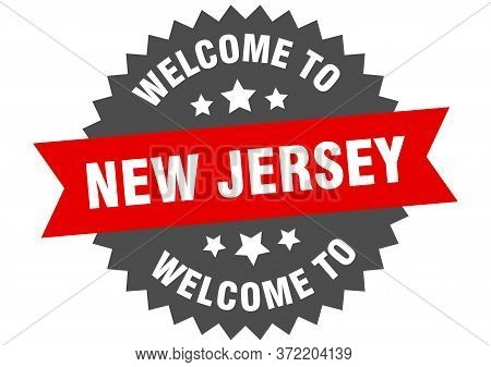 New Jersey Sign. Welcome To New Jersey Red Sticker