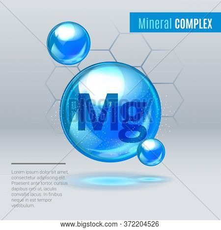 Mineral Mg Magnesium Blue Shining Pill Capcule Icon . Mineral Vitamin Complex With Chemical Formula