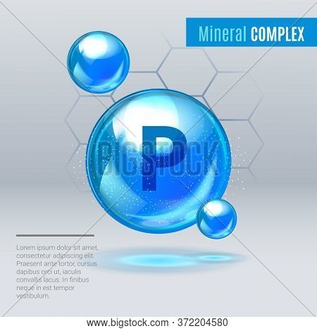 Mineral P Phosphorus Blue Shining Pill Capsule Icon . Mineral Vitamin Complex With Chemical Formula
