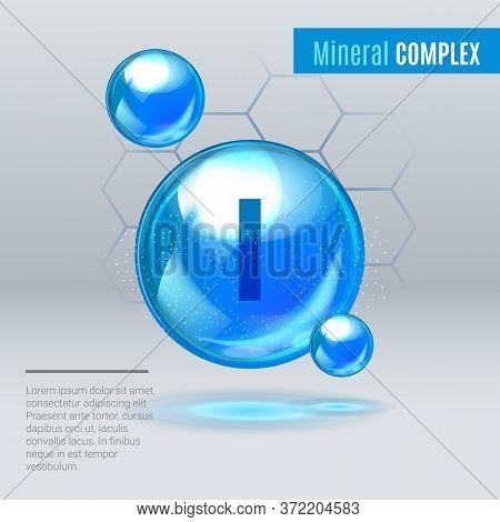 Mineral I Iodine, Iodum Blue Shining Pill Capsule Icon . Mineral Vitamin Complex With Chemical Formu