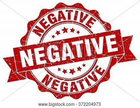 Negative. Stamp. Negative Round Retro Ribbon Sign. Seal