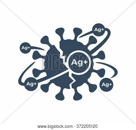 Silver Ions Acting Emblem - Antibacterial Properties Of Ag Molecules - Argentum Destroys Bacteria Sh