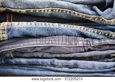 Stack Of A Blue Denim Jeans, Close-up