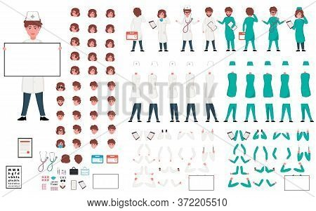 Doctor Character Constructor. Male Doctor Creation Set. Different Postures, Hairstyle, Body Parts, A