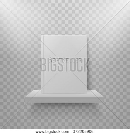Book Mockup On Bookshelf. Bestsellers In Hard Cover On Shelf. Bookstore Display. Vector Realistic Mo