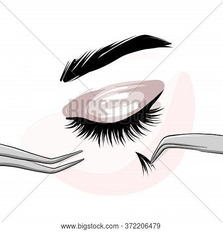 Lash Extension Beautican Procedure, Lash Stylist Make Faux Eyelash Extention, Professional Beauty Se