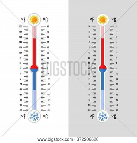 Celsius And Fahrenheit Meteorology Thermometers In A Flat Style Isolated On Grey And White Backgroun