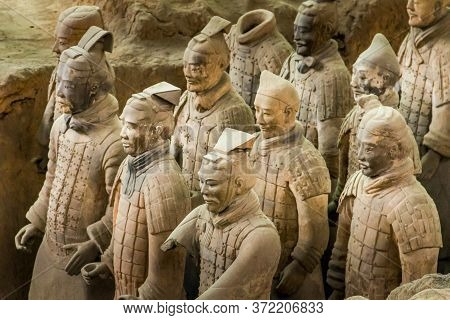 Xi\'an, China - 30 May, 2011: Terra Cotta Warriors Excavation Are Displayed In Xian, China. The Stat