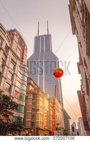 Shanghai, China - 27 April, 2011: Modern Buildings In Nanjing Road. Nanjing Road Is The Biggest Shop