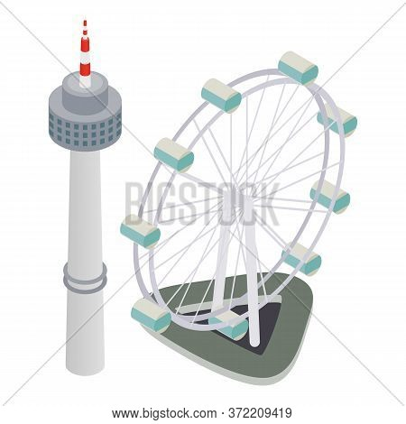 Asia Attraction Icon. Isometric Illustration Of Asia Attraction Vector Icon For Web