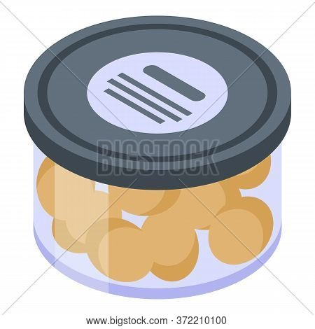 Gold Olive Jar Icon. Isometric Of Gold Olive Jar Vector Icon For Web Design Isolated On White Backgr