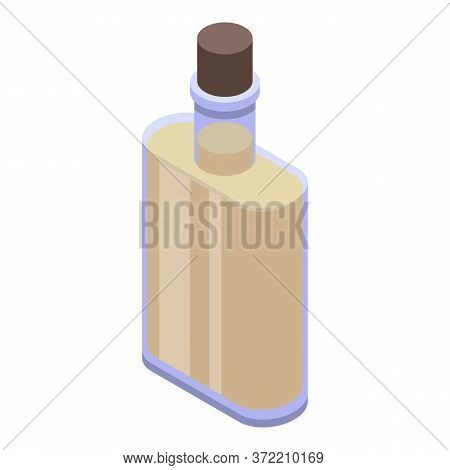 Virgin Olive Oil Bottle Icon. Isometric Of Virgin Olive Oil Bottle Vector Icon For Web Design Isolat