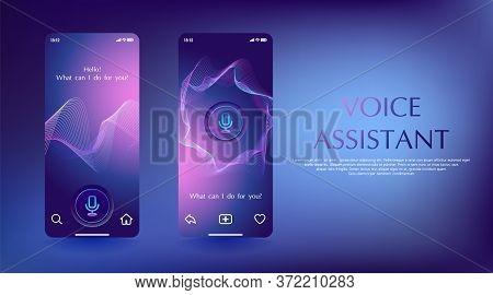 Smart Voice Assistant Mobile App Concept. Screenshot Digital Phone Control Device And Voice Command.