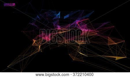 Network Background Abstract. Connect Technology Business Concept Of Line Grid Triangle Structure On