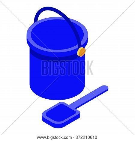 Sand Bucket Shovel Icon. Isometric Of Sand Bucket Shovel Vector Icon For Web Design Isolated On Whit