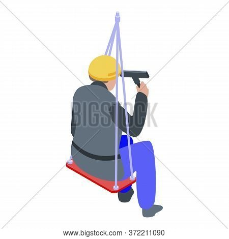 Window Wash Industrial Climber Icon. Isometric Of Window Wash Industrial Climber Vector Icon For Web