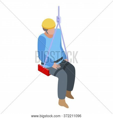 Industrial Climber Man Icon. Isometric Of Industrial Climber Man Vector Icon For Web Design Isolated