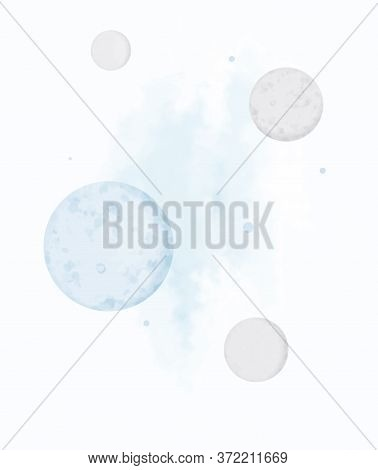 Lovely Universe Vector Ilustration. Blue And Gray Moon, Nebula And Planets. Simple Vector Illustrati