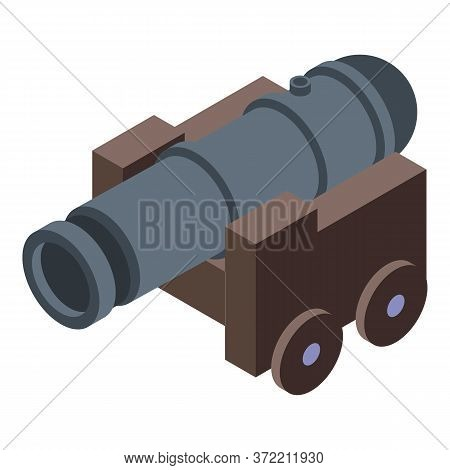Pirate Ship Cannon Icon. Isometric Of Pirate Ship Cannon Vector Icon For Web Design Isolated On Whit