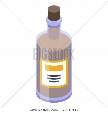 Pirate Rum Bottle Icon. Isometric Of Pirate Rum Bottle Vector Icon For Web Design Isolated On White