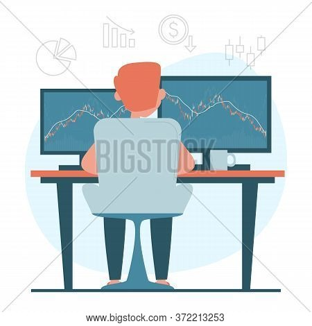 Man Sitting At The Computer And Analyzing