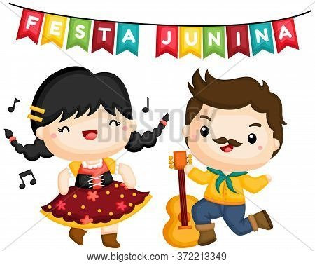 A Vector Of A Couple Singing And Dancing At Festa Junina