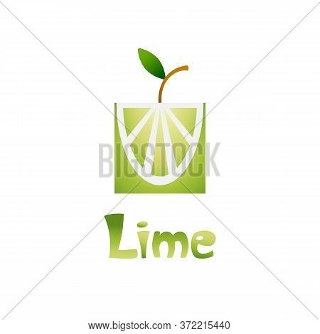 Fresh Tropical Citrus Fruit In A Flat Stylized With A Gradient. Hand Draw Lettering Lime. Lime For M