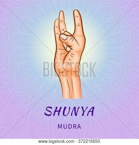 Shunya Mudra - Gesture In Yoga Fingers. Symbol In Buddhism Or Hinduism Concept. Yoga Technique For M