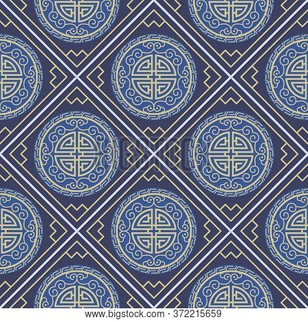 Retro Vintage Chinese Traditional Pattern Seamless Background Round Spiral Curve Cross Tracery Fdram