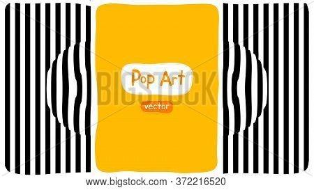 Abstract Op Art Vector Illustration, Yellow Orange Background, Pop Art Illustration Design With Opti