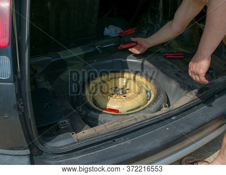 Mechanic Open Car Hood Checking Car On The Road After Breakdown Problem. Young Man Maintenance, Fixi