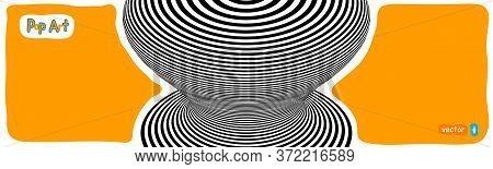 Abstract Op Art Vector Illustration, Yellow Orange Background. Pop Art Circular Hipnotic Lines With
