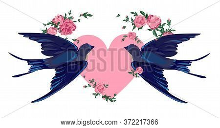 Swallow And Flowers Vector Illustration. Bird Flying, Bird Silhouette, Bird Vector.