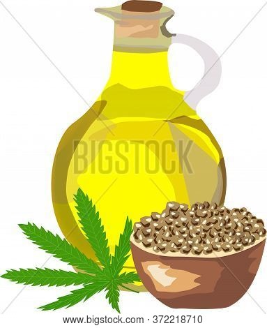 A Bottle Of Oil A Hemp Leaf And A Cup Of Hemp Seeds