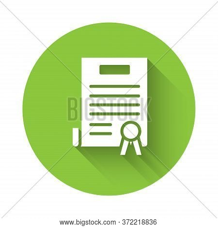 White Declaration Of Independence Icon Isolated With Long Shadow. Green Circle Button. Vector Illust