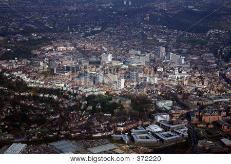 Aerial Of Nottingham City Centre.