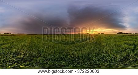 Full Spherical Hdr Panorama 360 Degrees Angle View Among Fields In Summer Evening Sunset With Beauti
