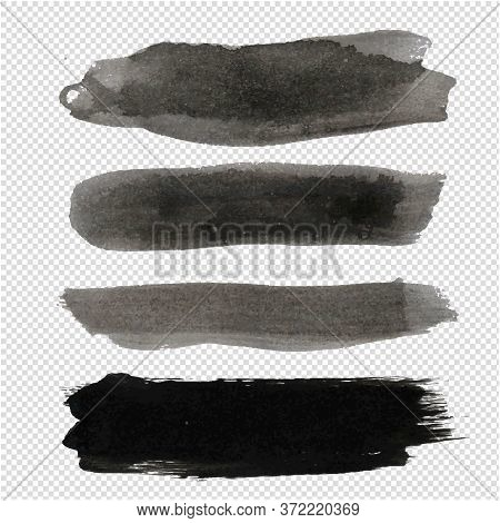 Big Black Blot Collection Transparent Background, Vector Illustration